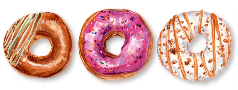 watercolor illustration of three doughnuts against a white background