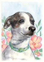 Pet portrait watercolor dog with flowers illustration