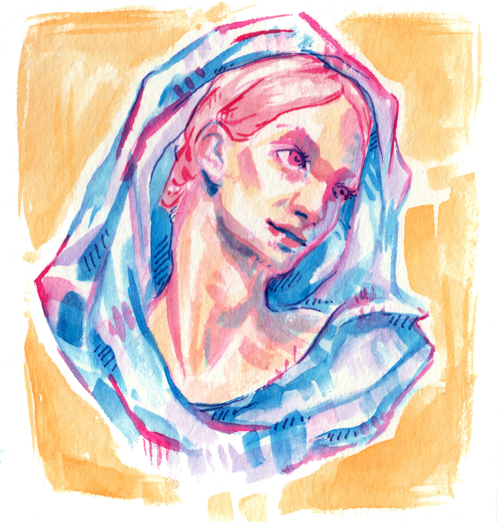 colorful watercolor stylized painting of a statue