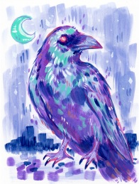 mixed media illustration of stylized purple crow against nighttime background