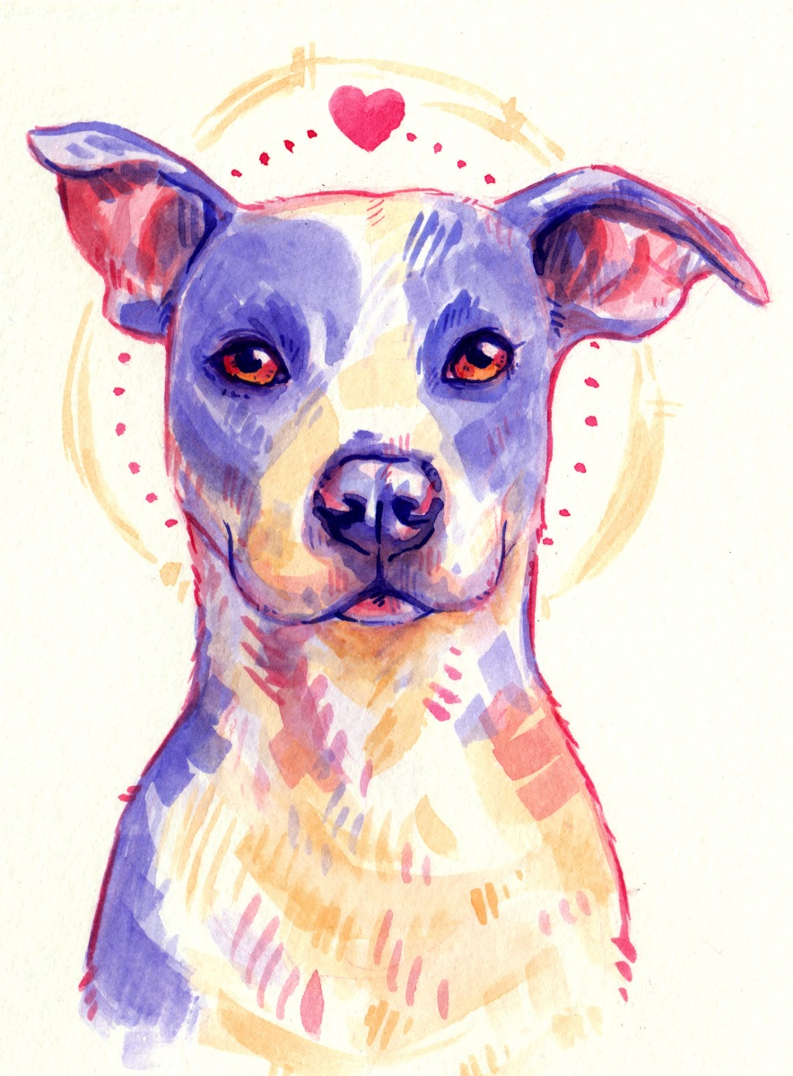 pet portrait of a stylized purple and yellow dog in watercolor