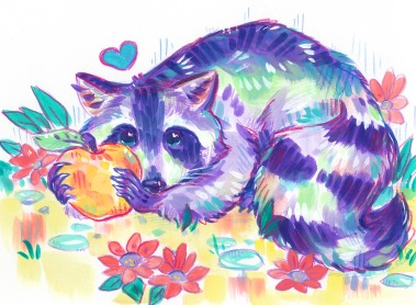 Rainbow raccoon with apple and flowers mixed media wildlife illustration