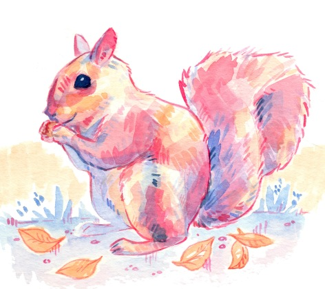 pastel pink, yellow, and blue illustration of a squirrel in watercolor