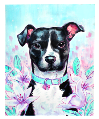 acrylic painting of a pet dog portrait with lilies