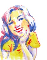 stylized and colorful acrylic portrait painting of a woman smiling