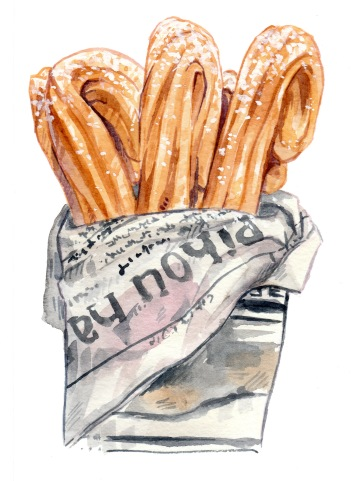 watercolor illustration of churros wrapped with newspaper