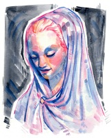 colorful and stylized watercolor illustration of a statue