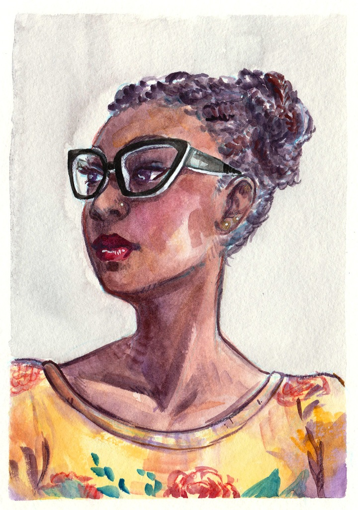 watercolor portrait of a girl with glasses and a pretty yellow dress