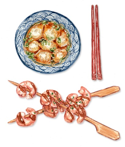 Watercolor food illustration of wonton soup and shrimp kabobs