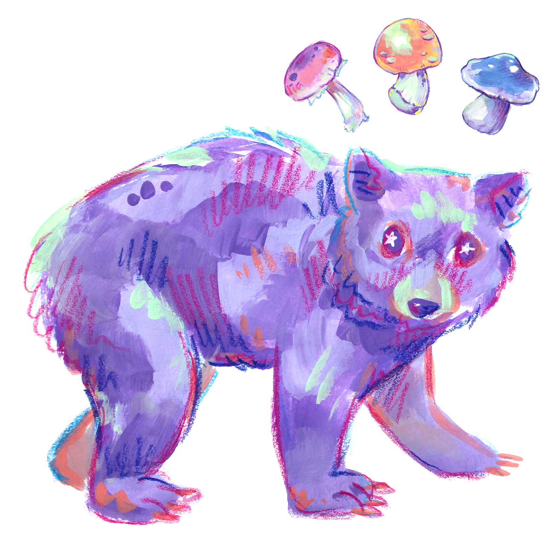 colorful bear and rainbow mushrooms