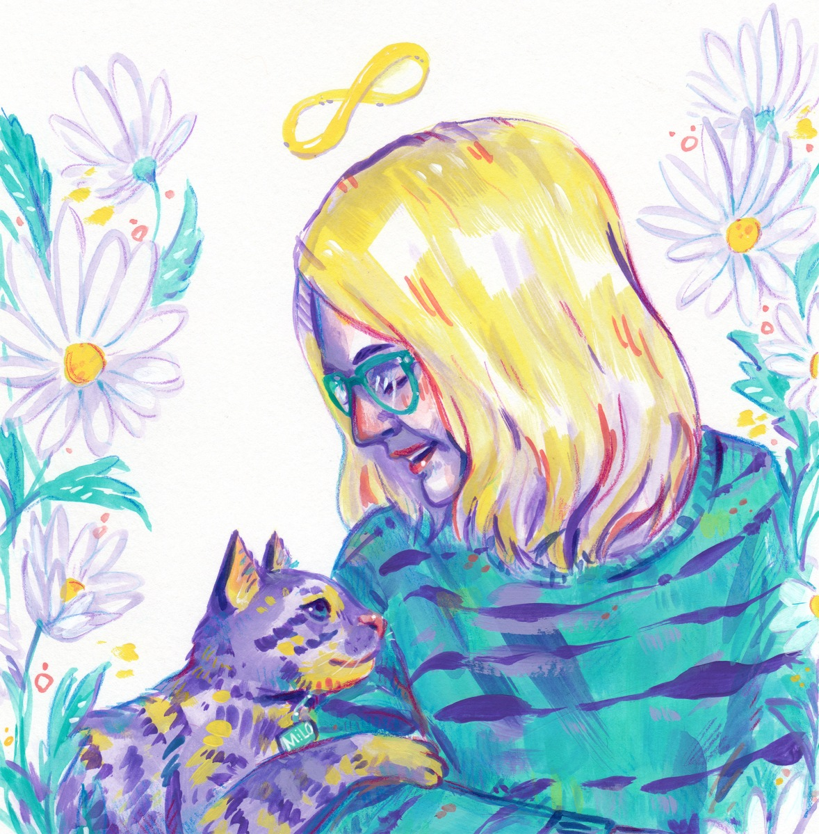 cat and pet owner portrait commission mixed media