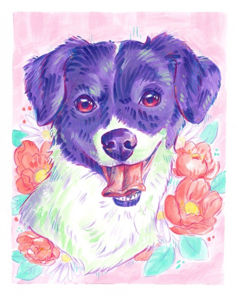 colorful acrylic pet portrait commission from Etsy of a dog with pink flowers