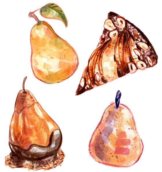 Watercolor pears and pear themed dessert paintings