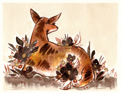 autumn colored deer sitting in flowers ink painting
