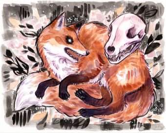 watercolor and ink spooky fox illustration with skull and flowers