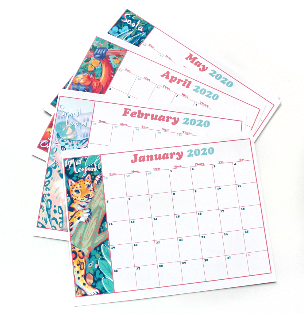 Endangered Animals 2020 Printable Calendar Pages