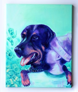 Colorful acrylic portrait of a guy with his dog on canvas