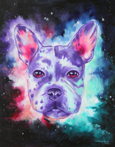 Acrylic pet portrait painting of a dog with a cosmic nebula background
