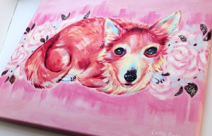 Colorful pink portrait of a chihuahua on canvas with glitter