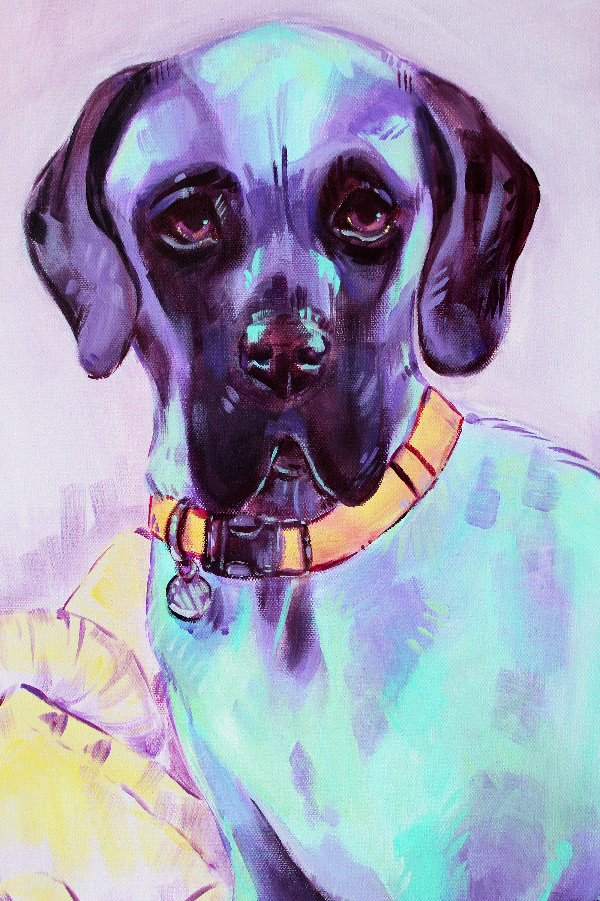 Purple and blue stylized pet portrait commission. Acrylic dog painting on canvas.