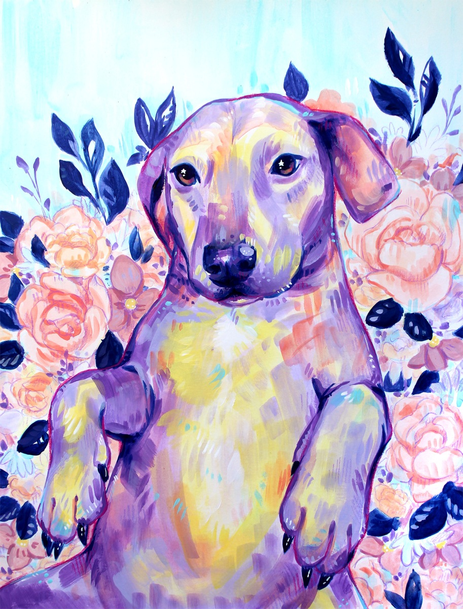 colorful acrylic purple yellow dog pet pink floral portrait commission