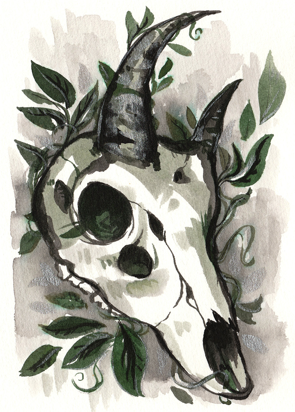Ink painting of a black and green leafy skull with silver horns