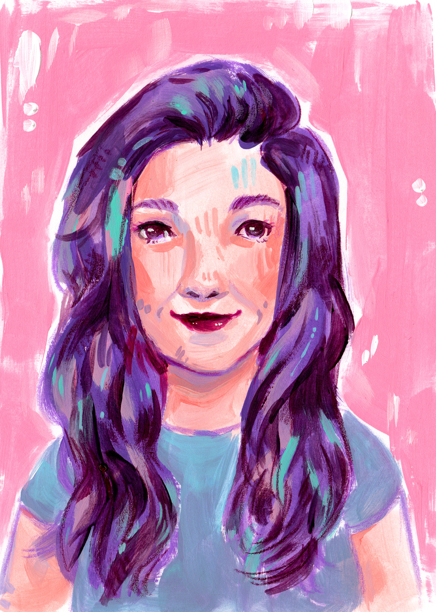 colorfully stylized acrylic illustration of a woman's portrait with a pink background