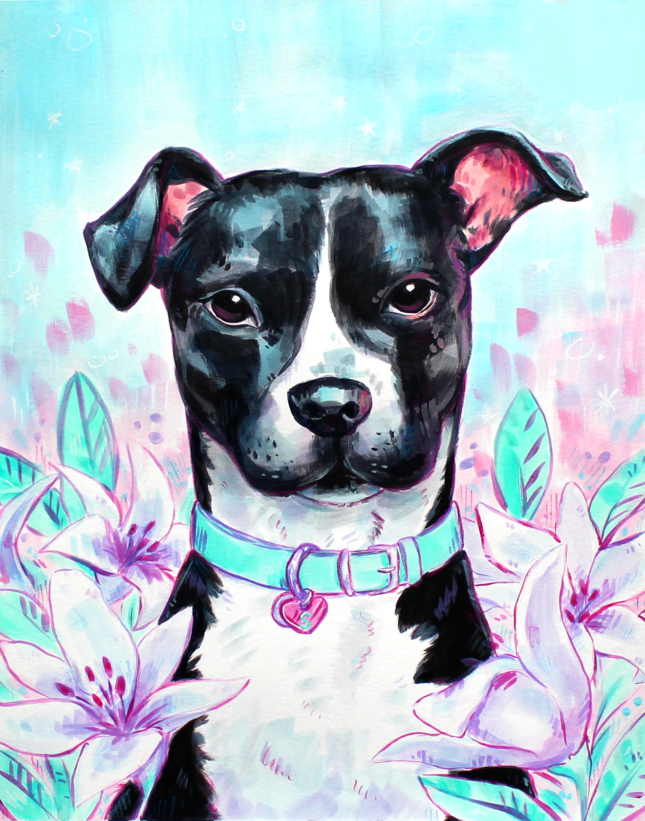 semi-realistic stylized portrait of a dog with lilies - acrylic pet painting