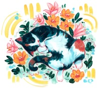 colorful playful cat with flowers pet portrait in acrylic