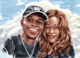 cute couple portrait commission in watercolor 2020