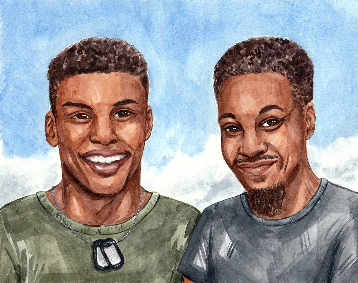 father and son portrait commission watercolor