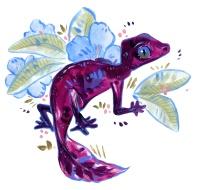 cute purple acrylic lizard with flower illustration