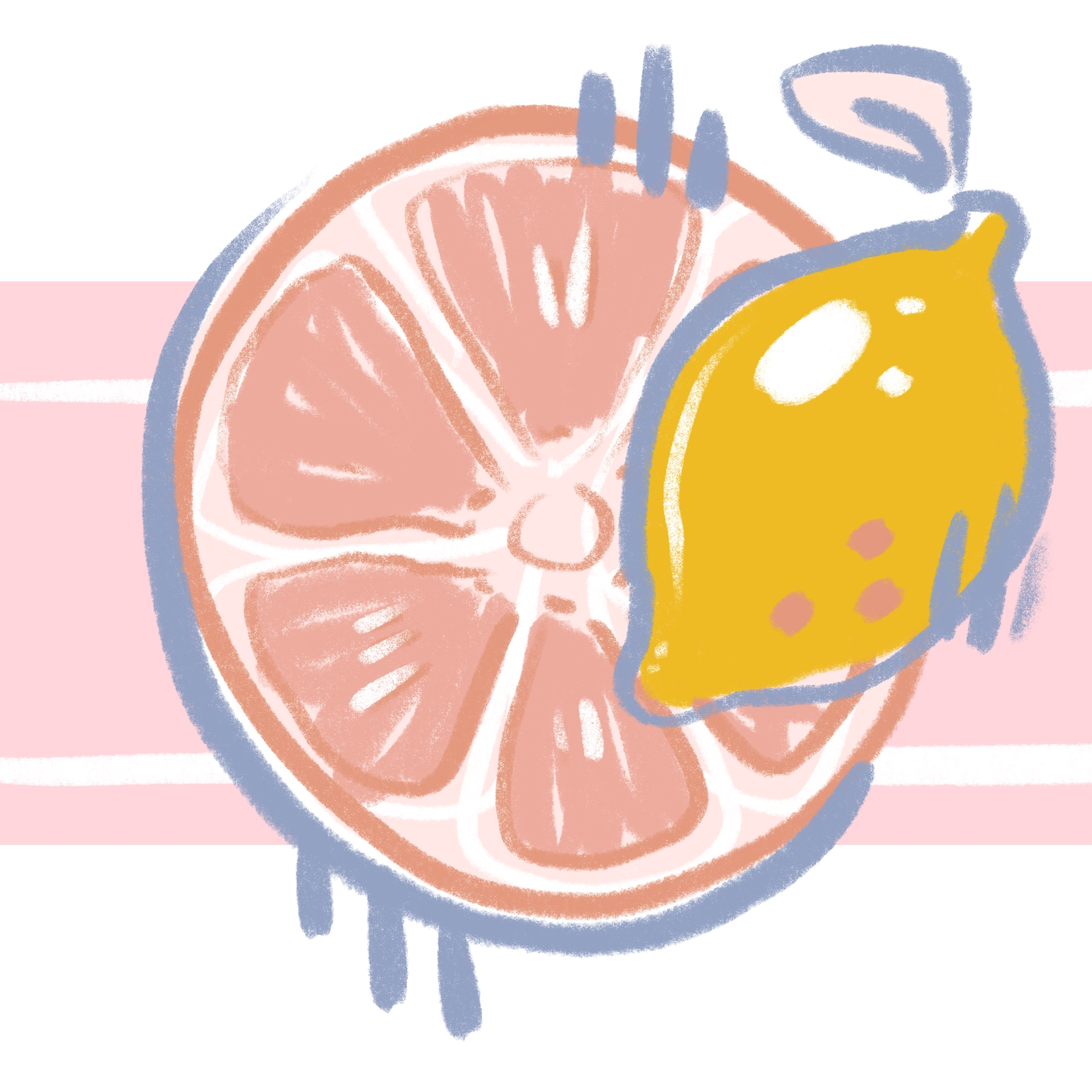 Pink and yellow Grapefruit Lemonade Label Graphic