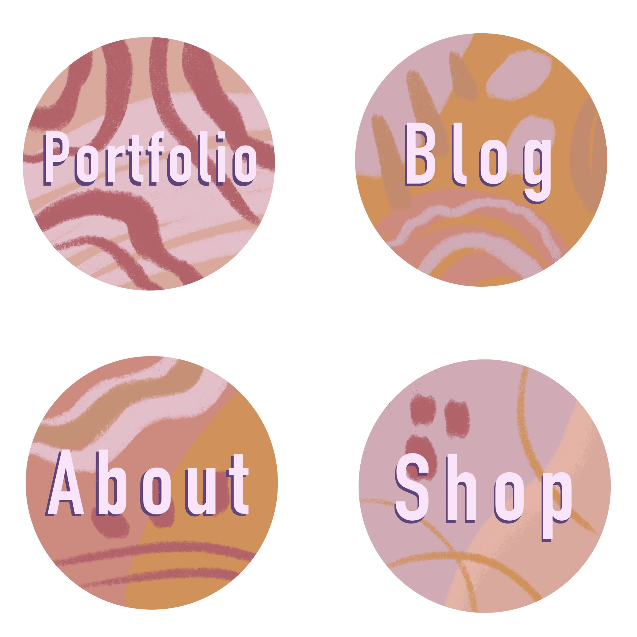 well designed icons for website navigation in neutral pinks and browns
