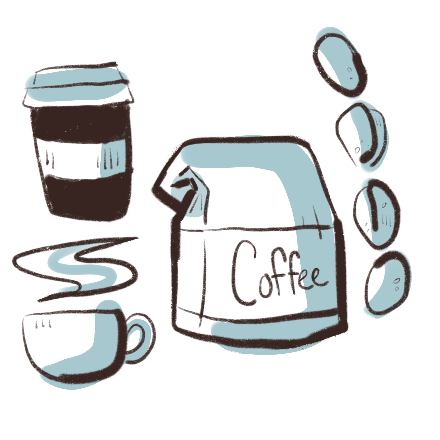 simple brown and blue coffee shop illustrations