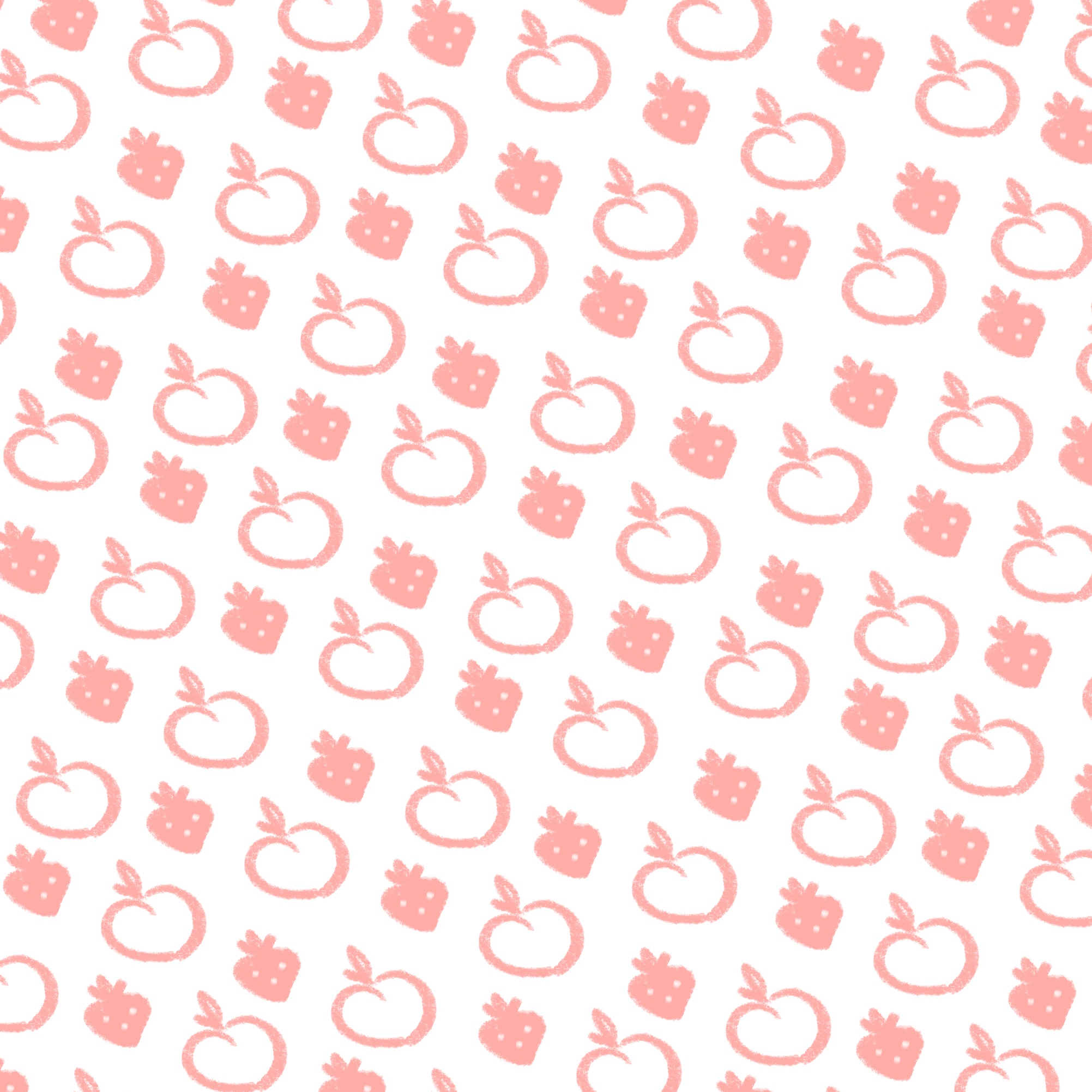 Simple pink and white repeating pattern of strawberry and peach