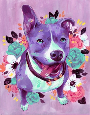 Acrylic painting of a happy pitbull surrounded by flowers. The portrait is painted with a palette of pinks, purples and blues